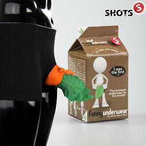 Shots S Line Men Funny Boxers Leaf Carrot Mutande Uomo Divertente Carota Foglia