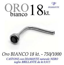 Piercing naso nose ORO BIANCO 18kt DIAMANTE NERO kt.0,015 white GOLD DIAMOND