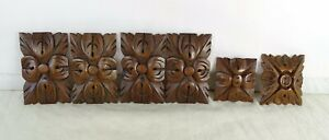 Set of 6 French Antique Carved Medallions Walnut Wood Trim Salvage