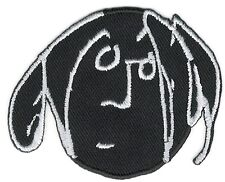 "2"" x 2 1/2"" White on Black Cartoon Art Face Line Drawing Patch"