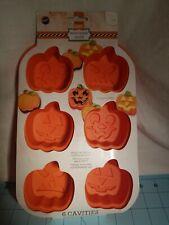 Wilton: Orange Silicone Mini Treat Mold, 6 Pumpkins in 3 Different Designs - NEW