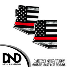 Arizona State Firefighter Red Line Decal AZ Tatter American Flag Sticker 2 Pack