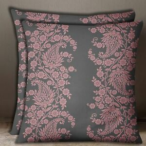 Cotton Poplin Gray With Pink Floral Paisley Print Square Cushion Cover 1 Pair