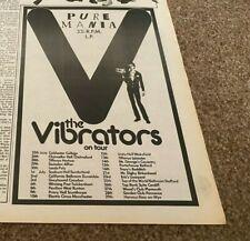 """PTN25/6/77P21 THE VIBRATORS : PUR MANIA ALBUM & TOUR DATES ADVERT 10X7"""""""