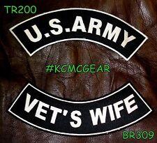 US ARMY VET'S WIFE VETERAN ROCKERS PATCHES SET FOR BIKER MOTORCYCLE VEST JACKET