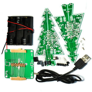 DIY 3D Christmas Kit Flashing Light LED Circuit 3/7 Colors Xmas Tree Gift