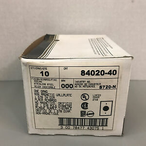 Box of 10 New Leviton 84020-40 One Gang Stainless Steel Wall Plates  S720-N