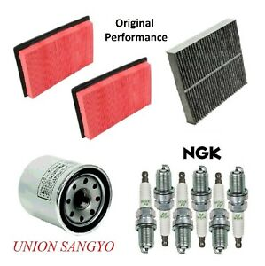 Tune Up Kit Air Cabin Oil Filters Spark Plugs For INFINITI Q50 V6 3.7L 2014-2015