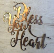 Bless Your Heart Wall Art Sign Rustic Copper Patina