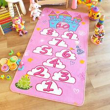 Kids Childrens Princess Castle Pink Hopscotch Play Mat Rug 0.8m X 1.5m