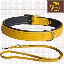WOZA Premium Lederhalsband Lederleine Vollleder Soft Rindnappa Gelb Schwarz SA94