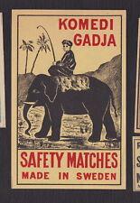 Ancienne étiquettes paquet allumettes Suède BN122979 Komedi Gadja Eléphant Inde