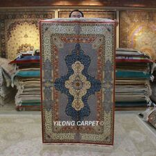 YILONG 3'x5' Handknotted Silk Rug Antistatic Kid Friendly Indoor Carpet Z308A