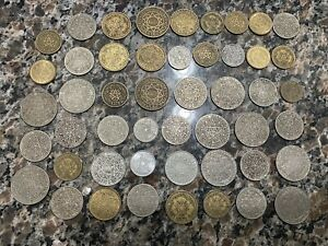 Morocco 49 coin lot all older - 1364 1371 1945 1952 - 5 10 20 50 Francs Centimes