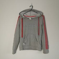 Ladies ADIDAS Hoodie With Wide V Neck And Pink 3 Stripes Size 12