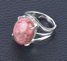 R155F Ring Silve Plated with Rhodonite Pink Oval Adjustable Size