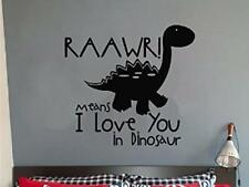RAAWR DINOSAUR I LOVE YOU Vinyl Wall Decal Words Lettering Childrens Room Decor