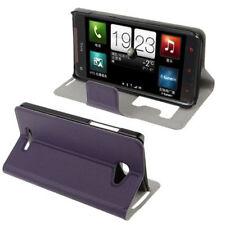 Book Tasche für HTC Butterfly Etui Hülle lila mit Anrufanzeige Case Handytasche