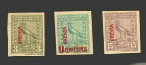 Uruguay Bird Lapwing overprinted for newspaper use MLH XF