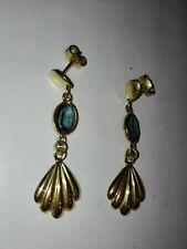 orecchini argento 835 placcato oro con pietra