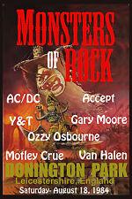 ROCK: Monsters of Rock: AC/DC, Motley Crue, Van Halen, Ozzy Concert Poster 1984