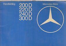 MERCEDES BENZ W123 200D 220D 240D 300D ORIG. 1976 OWNERS MANUAL ( DUTCH TEXT )
