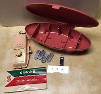 Singer Buttonholer 489500 Vintage 1960 Attachment Pink Atomic Case 5 Templates