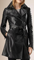 New Womens Black Genuine Leather Trench Coat