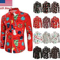 Men's Christmas Long Sleeve Button Down T-shirt Tops Slim Fit Xmas Dress Shirts