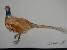 More details for original watercolour painting pen & ink of a pheasant on ivory white paper