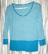 NEW PASSPORTS Womens 100% Cotton Long SleeveTurquoise Knit Shirt, S. Sm