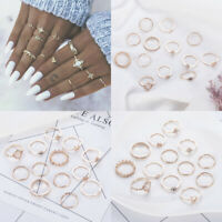 13 Pcs/Set Gem Crystal Midi Finger Ring Vintage Punk Boho Knuckle Rings Jewelry