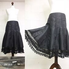 Per Una Black Satin Midi Skirt Full Flippy Party Satin Lace Steampunk 12 |O21|