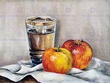 PAINTING ILLUSTRATION STILL LIFE APPLES CUP CANVAS OIL ART PRINT POSTER MP5461B