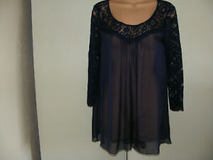 Phase Eight  Size 10  Silk  Navy Blue  Sheer Long Top  With  Lace Yoke & Sleeves