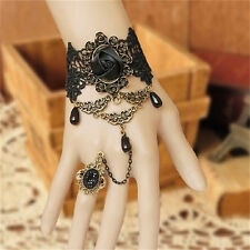 Black Women Gothic Lace Bracelet Bangle Retro Jewelry Women Prom Accessories QW