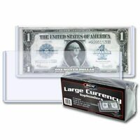 25 BCW Topload Banknote Sleeves Holders Large Size US Currency Rigid SAFE LONG