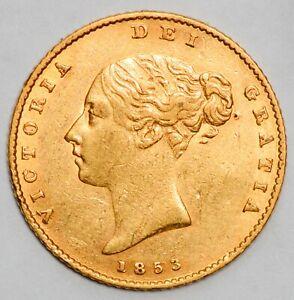 HIGH GRADE 1853 Victoria Gold Shield Half Sovereign