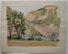 Aquarelle sur Papier Paysage Montagne c.1950 Y. MILIN #23 Peinture Dessin