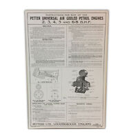 Stationary Engine Wall Chart - Instructions for the use of Petter Engines