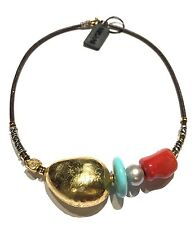 collana MISANI C840 in oro giallo 18 kt argento 925 corallo perla turchese cuoio