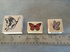 """3 BUTTERFLY STAMPS  """"RETIRED """" 1 IS STAMPENDOUS  RUBBER STAMPS"""