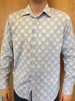 Ted Baker Size 4 L Mens Polka Dott Blue Shirt