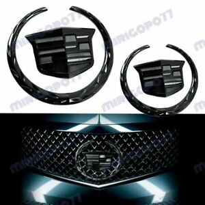 Black Cadillac Front Grille Rear Trunk Lid Badge Emblem for Escalade SRX XTS 2PC