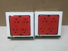 (2) Leviton 21254-R red 2-pole 3-wire grounding 4 in 1 receptacles