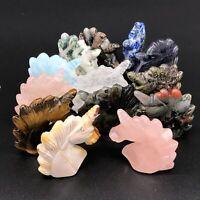 "Natural quartz crystal hand carved unicorn skull reiki healing 2"" 13 Kinds 1x"