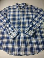 Recent Ralph Lauren Indigo Oxford Mens Shirt Size 2XL Blue Check Long Sleeve