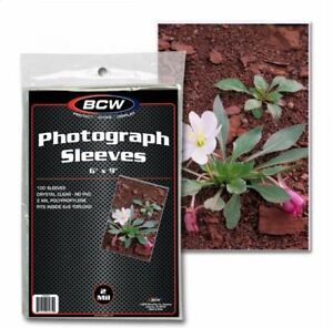 """(100) BCW 6x9 Photograph Sleeves 6""""x9"""" 2 Mil Poly For Photos, Cards, Postcards"""