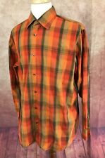 Banana Republic Button Front Long Sleeve 100% Cotton Orange Plaid Shirt Men's XL