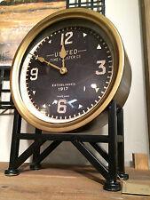 """New 16"""" Metal Frame Brass Black Face Round Table Desk Clock Modern Vintage"""